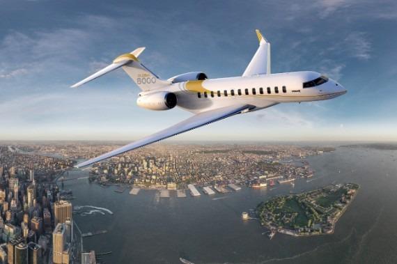 Bombardier global vue d'exterieur 8000 en vol