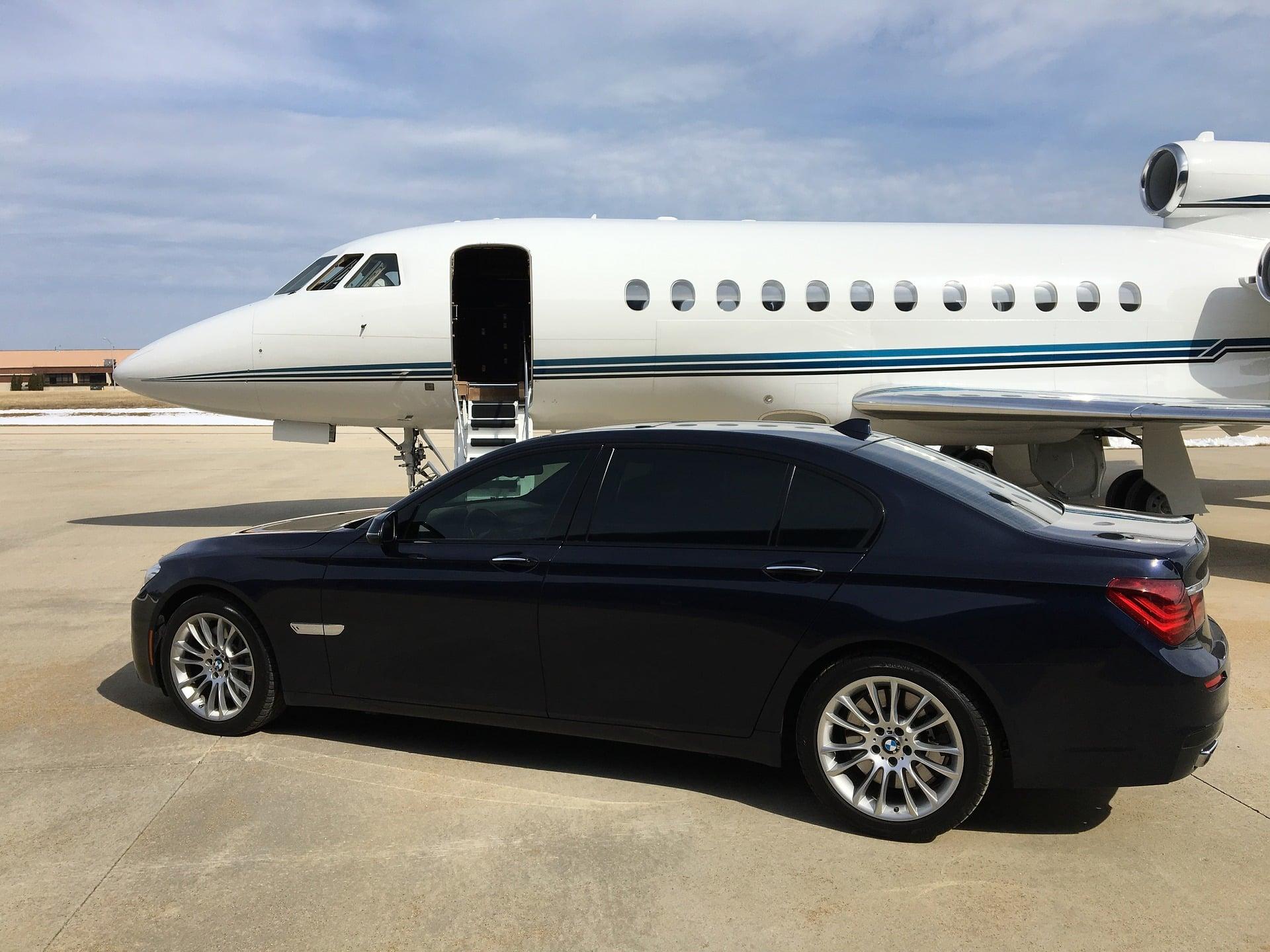 BMW avec un Falcon 7X