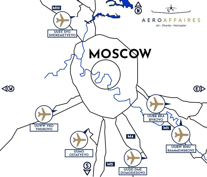 plan des aeroports de Moscow