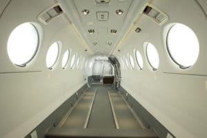 La cabine cargo d'un King Air 350 de transport de fret
