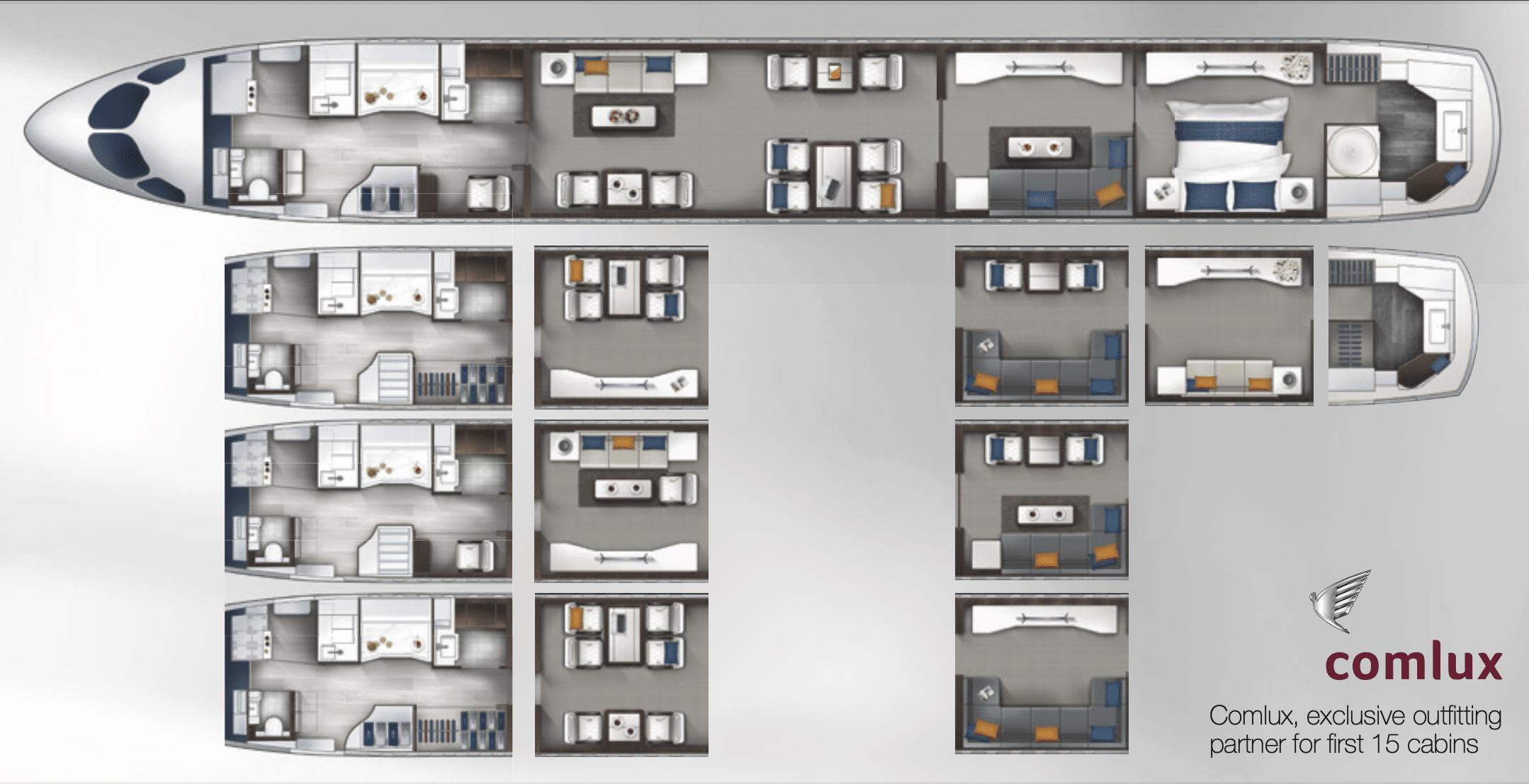 disposition cabines ACJ 220